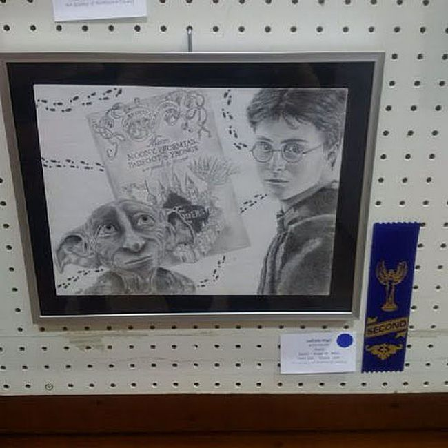 A Harry Potter drawing snagged second-place prizing for local high school student Ailich Blackie.  Photo Supplied
