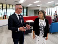 St. Lawrence College president and CEO Glen Vollebregt and Kingston and the Islands MPP Sophie Kiwala tour the new innovation hub at the Kingston campus of St. Lawrence College on Tuesday. (Ian MacAlpine/The Whig-Standard)