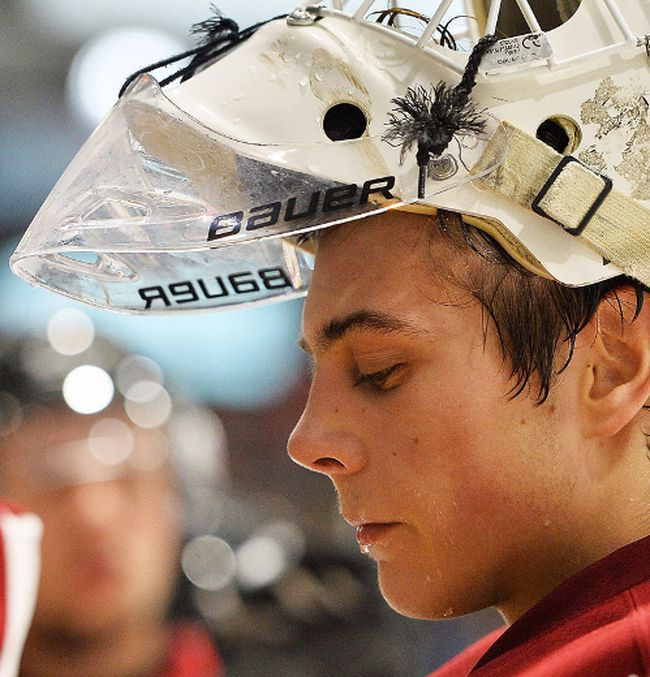 Guelph Storm netminder Anthony Popovich of Belleville. (OHL Images)