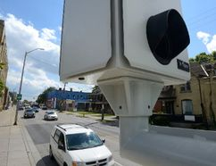 Red-light cameras face the intersection of Adelaide Street and Queens Avenue in London Ontario on Tuesday September 5, 2017. (MORRIS LAMONT, The London Free Press)