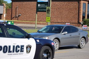 A pedestrian was injured after being struck by a vehicle Wednesday morning. (Neil Bowen/Sarnia Observer)
