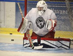 <p>Jr. A Colts veteran goalie Liam Lascelle, back in a familiar crease at the civic complex during practice on Wednesday, September 6, 2017, in Cornwall, Ont. </p><p> Todd Hambleton/Cornwall Standard-Freeholder/Postmedia Network