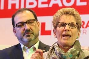 Ontario Premier Kathleen Wynne introduces Glenn Thibeault as the Sudbury Liberal candidate for the Sudbury byelection in 2015. (POSTMEDIA NETWORK PHOTO)