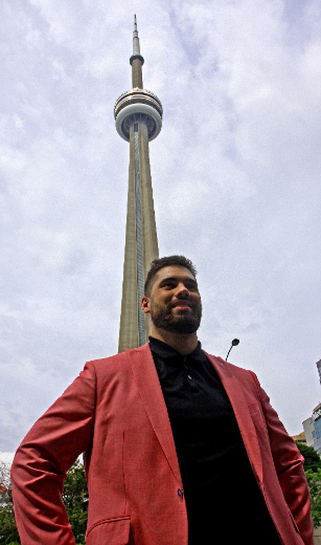 Canadian NFLer Laurent Duvernay-Tardif poses for a photo in downtown Toronto in July 2017. (John Kryk/Postmedia)
