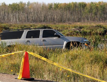 A vehicle police say was involved in a fatal accident that killed two individuals on the evening of Wednesday, September 6, 2017 on Real Martin Drive in Fort McMurray, Alta. Wood Buffalo RCMP arrested a 48-year-old man following the accident. Vincent McDermott/Fort McMurray Today/Postmedia Network