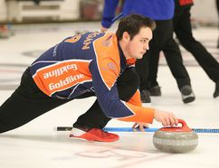 Skip Tanner Horgan of the Copper Cliff Curling Club delivers a rock during the Northern Ontario U21 Men's provincial play downs at the Sudbury Curling Club in Sudbury, Ont. on Wednesday December 28, 2016. Horgan and his teammates started a new season last weekend with the Stu Sells Oakville Tankard, advancing to the semifinals before falling to the eventual champion. Gino Donato/Sudbury Star/Postmedia Network