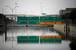 A section of US-90 sits under 16 feet of water on September 3, 2017 in Houston, Texas. (Justin Sullivan/Getty Images)