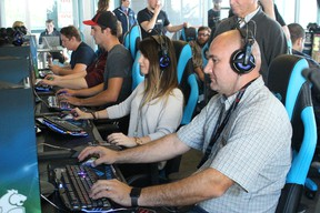 Lambton College's Rick Brown joins the opening games in the college's new Esports Arena. (Neil Bowen/Sarnia Observer)