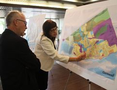 <p>Planning department division manager Mary Joyce-Smith explains the official plan map to resident Jim Marshall at an open house on Thursday September 7, 2017 in Cornwall, Ont. </p><p> Alan S. Hale/Cornwall Standard-Freeholder/Postmedia Network