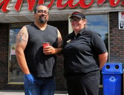Simcoe resident Rick Bonnacorso says the quick actions of Tim Hortons employees helped save his life during an incident July 10. With him is Marie Ireland, a manager at Simcoe's Tim Hortons Water Street location. JACOB ROBINSON/Simcoe Reformer