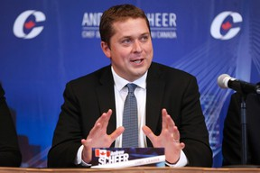 Conservative Party of Canada leader Andrew Scheer speaks at his shadow cabinet meeting in Winnipeg, Wednesday, September 6, 2017. THE CANADIAN PRESS/John Woods