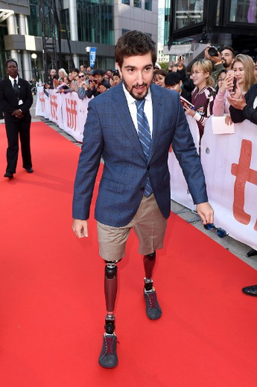"Jeff Bauman attends the ""Stronger"" premiere during the 2017 Toronto International Film Festival at Roy Thomson Hall on September 8, 2017 in Toronto, Canada. (Photo by Kevin Winter/Getty Images)"