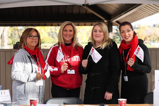 From left to right, Participant Christiane Oana, March organizer Pamela Roberts, MLA Deborah Drever, Michelle Oana Associate Director of Development and Communications at Myeloma Canada at the 2016 Myeloma March in Calgary, Alta.