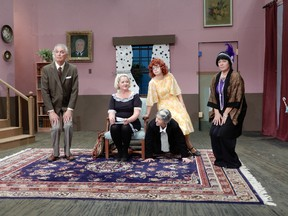 Rob Bruce, from left, Sandy Turcotte, Oscar Cadeau, Liane Wintle, Krista Berg are seen onstage in the Domino Theatre production The Farndale Housing Estate Townswomen's Guild Dramatic Society Murder Mystery. (Grant Buckler/Supplied Photo)