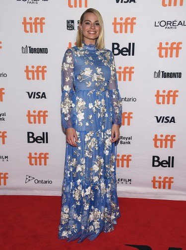 "Margot Robbie attends a premiere for ""I, Tonya"" on day 2 of the Toronto International Film Festival at the Princess of Wales Theatre on Friday, Sept. 8, 2017, in Toronto. (Photo by Evan Agostini/Invision/AP)"