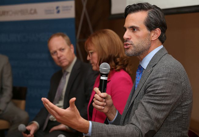 Karl Baldauf, right, vice-president of policy and government relations at the Ontario Chamber of Commerce, makes a point during a panel discussion on the Ontario government's proposed workplace reforms at a Greater Sudbury Chamber of Commerce luncheon in Sudbury, Ont. on Friday September 8, 2017. John Lappa/Sudbury Star/Postmedia Network