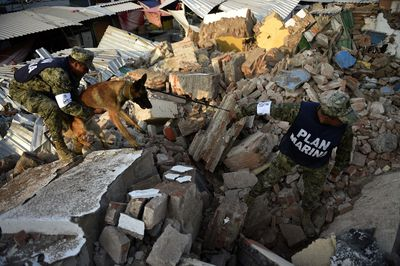 Soldiers with specially trained dogs search for survivors amid the ruins of buildings knocked down Thursday night by a 8.1-magnitude quake, in Juchitan de Zaragoza, Mexico, on Sept. 9, 2017. (PEDRO PARDO/AFP/Getty Images)