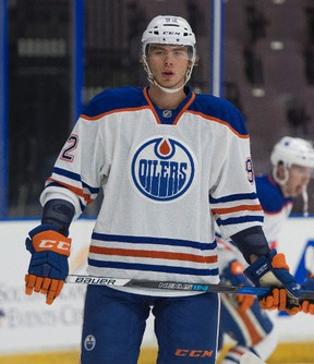 Edmonton Oilers prospect defenceman Ziyat Paigin during the pre-game warmup prior to the start of histeam's game against the Calgary Flames rookies at the Young Stars Classic held at the South Okanagan Events Centre in Penticton, B.C., on Sept. 8, 2017.