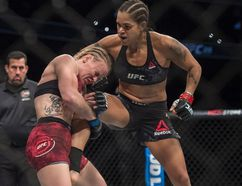 Amanda Nunes won a split decision after five rounds over Valentina Shevchenko in the Women's Bantamweight Title bout at UFC 215 at Rogers Place in Edmonton on September 9, 2017.