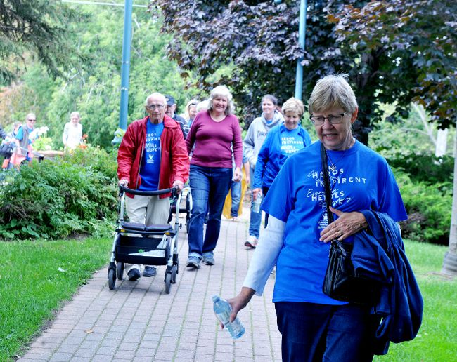 Yvonne Morgan, front, joins fellow participants in Brockville's Parkinson SuperWalk on Saturday morning. (RONALD ZAJAC/The Recorder and Times)