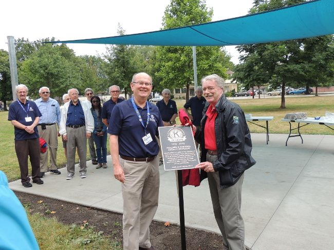 Golden K Kiwanis president Mike Shimmin joined Mayor Mike Bradley on Aug. 29 to unveil the club's gift to the city, the Legacy Pavilion, in McGibbon Park.
