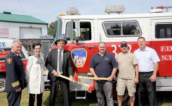 A media launch was held Monday for the upcoming FireFest Chatham-Kent, which will take place Sept. 22 and 23. From left are fire and paramedic chief Ken Stuebing, St. Clair College's director of advancement Karen Flannagan, Mayor Randy Hope, FireFest co-organizer Brent DeNure, Boonies Drive-In owner Ziggy Schiefer, and FireFest co-organizer Keith Chinnery.