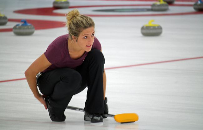 Vicky Persinger, second on Team Sinclair of the United States, watches her shot during practice for the Shorty Jenkins Classic at the Cornwall Curling Centre on Tuesday. The Shorty starts on Thursday and runs through to Sunday. Kevin Gould/Cornwall Standard-Freeholder