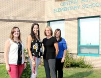 Left to right are: Sydney Shumlanski, Britt Meyers, Evelyn LeComte and Shirley Myhre.All are new at Central Park School.