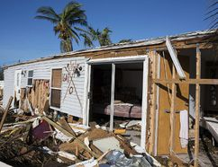 Extensive damage and destruction from Hurricane Irma is seen Tuesday at the Seabreeze Trailer Park in Islamorada, Fla. Many of the park's trailer homes were completely destroyed. Loren Elliott/Associated Press