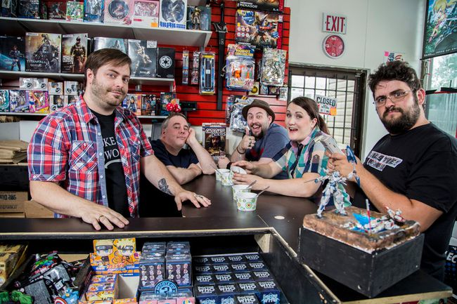 From left to right: Nerdvana web series actor and producer Steve Reeve, actor Mike Farough, actor Zachary Barret, producer and actor Ashley Laurenson and actor Matt Salem smile for the camera on set at Nerdvana, Fort McMurray's comics and collectibles store. Supplied image