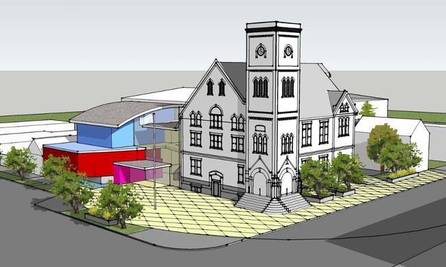 Saugeen Shores councillors received the final version of a consultant's feasibility and design study of a twinned Southampton Library and Town Hall at its Sept. 11 meeting. The $11.4 million estimated price tag and the modern design raised concerns from some town councillors. An architect's conceptual drawing views the north plaza and entry from the corner of Albert and High Streets.