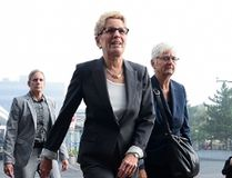 Ontario Premier Kathleen Wynne arrives to appear as a witness in the Election Act bribery trial in Sudbury, Ontario, Wednesday, Sept. 13, 2017. (THE CANADIAN PRESS/Sean Kilpatrick)