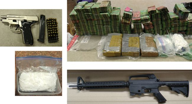 Cash, weapons and drugs seized by police during Project Yuma. Supplied photo