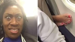 Jasmine Mays' video of her reaction to a foot on an armrest has gone viral. (Screengrab/Facebook - modeldivajazz)