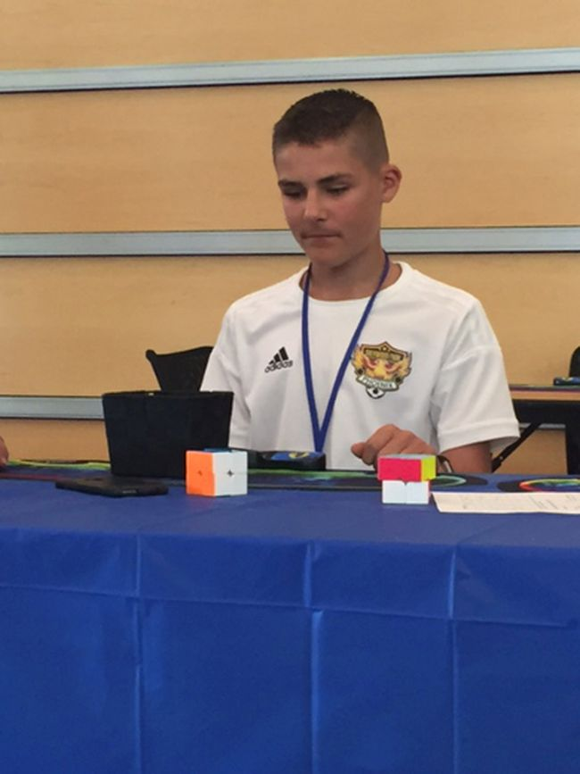 Gavin Olson took eighth overall in the 3x3 cubing event during the Sherwood Park Open in August.