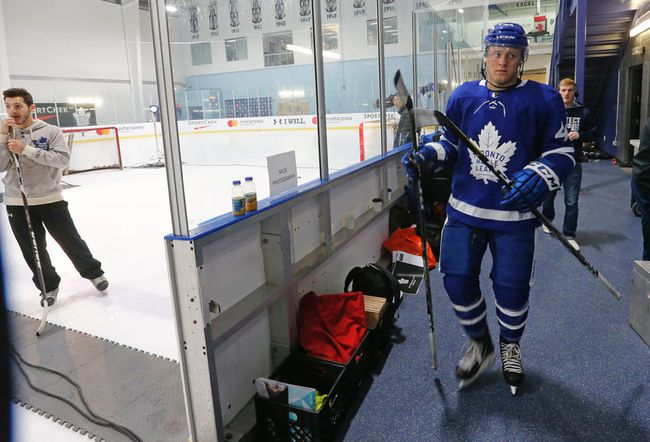 Morgan Rielly about to get photographed at Toronto Maple Leafs medical and photos day at MasterCard Centre in Toronto on Thursday September 14, 2017. Michael Peake/Toronto Sun/Postmedia Network