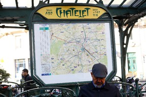 View of one of the entrances of the Chatelet metro station in central Paris, France. Paris police say a knife-wielding assailant tried to attack a soldier in Chatelet station but was quickly arrested and no one was hurt. (AP Photo/Thibault Camus)