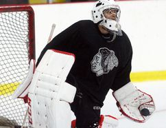 Brockville Braves goalies Yaniv Perets (shown here) and Justin Evenson are making it easy to forget about the hole Henry Johnson left when he moved on to the NCAA ranks as the pair are fighting it out for the team's top spot in net. (Jonathon Brodie/The Recorder and Times)