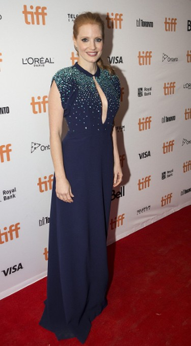 Jessica Chastain walks the red carpet for the movie Molly's Game during the Toronto International Film Festival in Toronto on Friday September 8, 2017. Craig Robertson/Toronto Sun/Postmedia Network