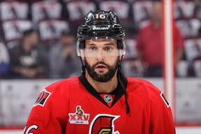 Clarke MacArthur of the Ottawa Senators looks on during warm-ups prior to a game against the Pittsburgh Penguins in Game 6 at Canadian Tire Centre on May 23, 2017. (Jana Chytilova/Freestyle Photography/Getty Images)