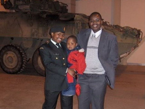 Viktor Mubili (R), his son (middle) and daughter Betiana Mubili, who died in a skydiving mishap in Petawawa.