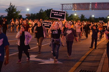 Protesters demonstrate during a protest action following a not guilty verdict Sept. 15, 2017 in St. Louis, Mo.  (Michael B. Thomas/Getty Images)
