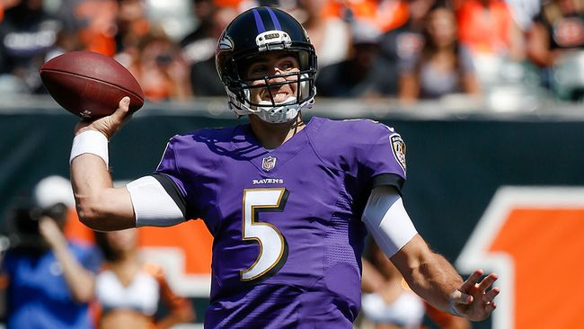 In this Sept. 10, 2017, file photo, Baltimore Ravens quarterback Joe Flacco throws in the first half of an NFL football game against the Cincinnati Bengals, in Cincinnati. (AP Photo/Frank Victores, File)