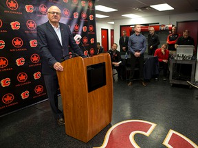 Calgary Flames President and CEO Ken King speaks to reporters during a press conference at the Scotiabank Saddledome in Calgary on Friday September 15, 2017. Leah Hennel/Postmedia