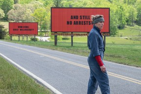 """Frances McDormand is a grieving mother with a vendetta against the local sheriff in """"Three Billboards Outside Ebbing, Missouri"""". (Merrick Morton/Fox Searchlight Pictures)"""