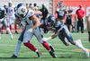 Ottawa Redblacks' fullback Patrick Lavoie (81) breaks through the Montreal Alouettes defense during first half CFL football action in Montreal, Sunday, September 17, 2017. Graham Hughes, The Canadian Press