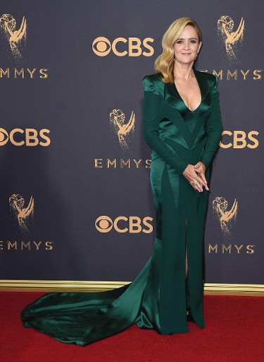 Samantha Bee arrives at the 69th Primetime Emmy Awards on Sunday, Sept. 17, 2017, at the Microsoft Theater in Los Angeles. (Photo by Jordan Strauss/Invision/AP)