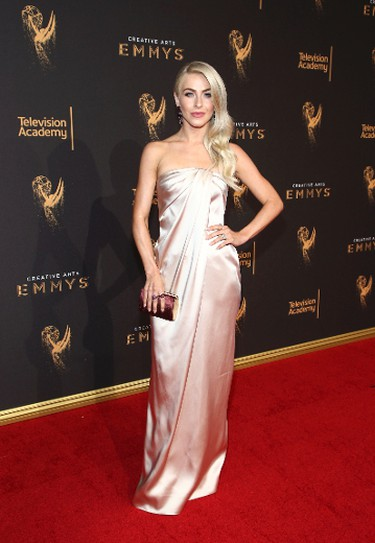 IMAGE DISTRIBUTED FOR THE TELEVISION ACADEMY - Julianne Hough arrives at night one of the Television Academy's 2017 Creative Arts Emmy Awards at the Microsoft Theater on Saturday, Sept. 9, 2017, in Los Angeles. (Photo by John Salangsang/Invision for the Television Academy/AP Images)