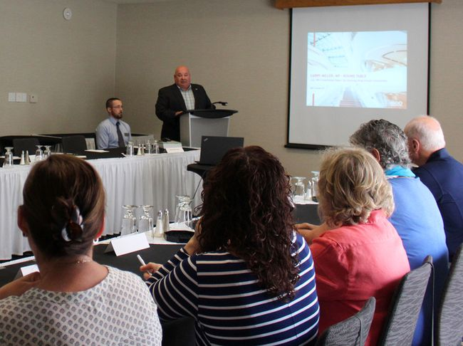 Larry Miller, MP for Bruce-Grey-Owen Sound, held a roundtable discussion on proposed tax changes at the Best Western Inn on the Bay on Friday in Owen Sound. Photo by Zoe Kessler/Wiarton Echo