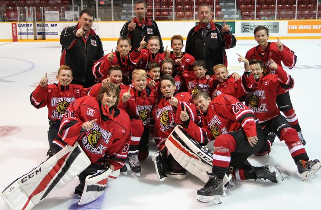 The Owen Sound Harold Sutherland Junior Attack major peewees won the Owen Sound Early Bird tournament on the weekend. (Supplied photo)